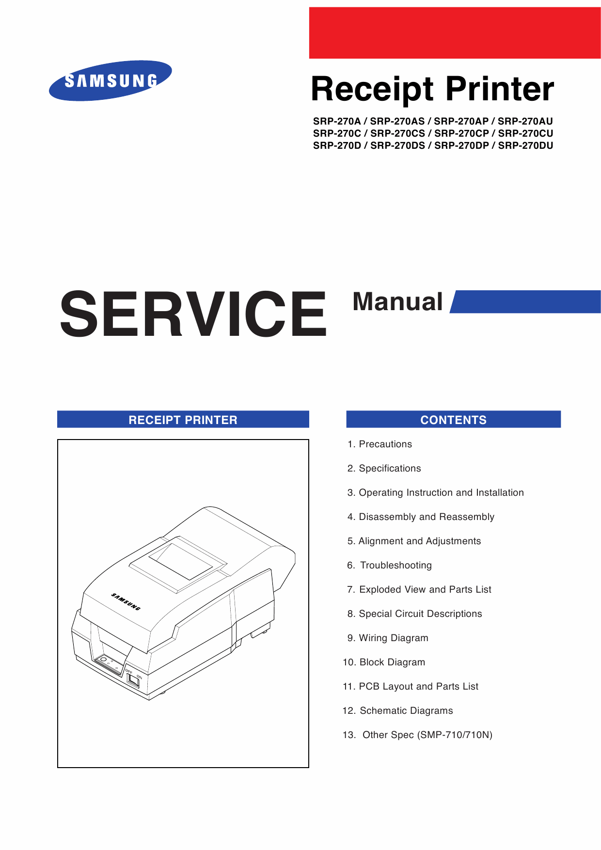 Samsung Receipt-Printer SRP-270 Parts and Service Manual-1